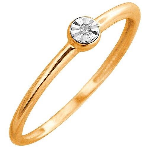 Эстет Кольцо с 1 бриллиантом из комбинированного золота 01К6612257, размер 16.5 ЭСТЕТ