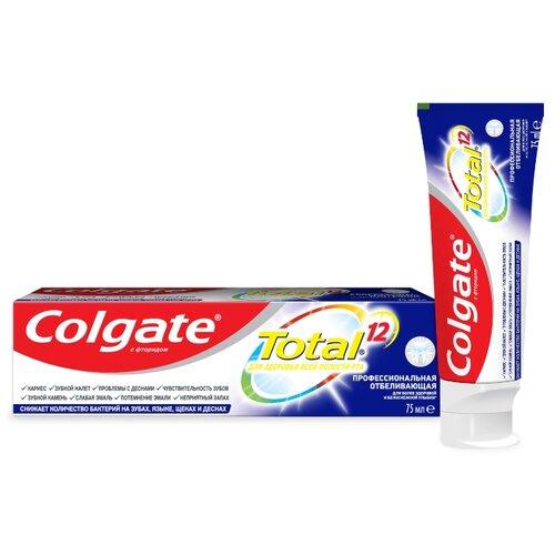 Купить Зубная паста Colgate Total 12 Профессиональная Отбеливающая комплексная антибактериальная, 75 мл