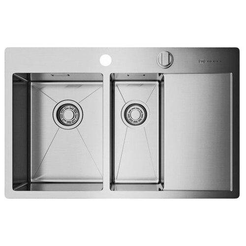 Врезная кухонная мойка 78 см OMOIKIRI Akisame 78-2-IN-L нержавеющая сталь врезная кухонная мойка 78 см omoikiri akisame 78 in l нержавеющая сталь