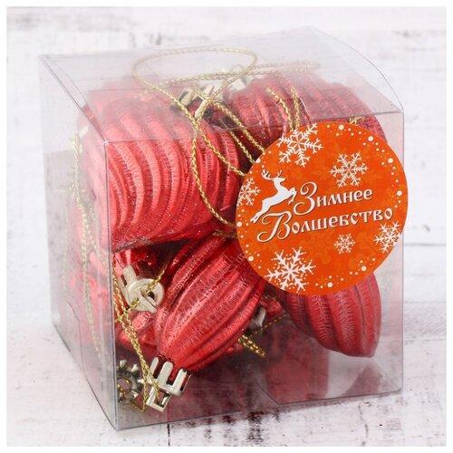 Набор елочных игрушек Зимнее волшебство Амели 4193061, красный, 12 шт. набор шаров зимнее волшебство миндора 4196473 красный 8 шт