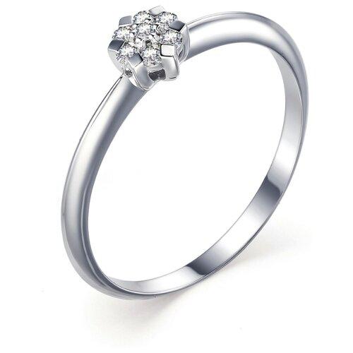 АЛЬКОР Кольцо с 7 бриллиантами из белого золота 13227-200, размер 15.5 фото