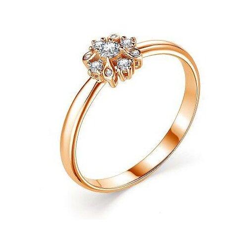 АЛЬКОР Кольцо с 9 бриллиантами из красного золота 13376-100, размер 17.5