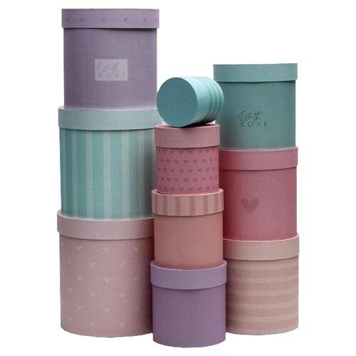 Фото - Набор подарочных коробок Дарите счастье Нежность, 10 шт. бирюзовый/розовый/сиреневый набор подарочных коробок дарите счастье нежность 3 шт розовый