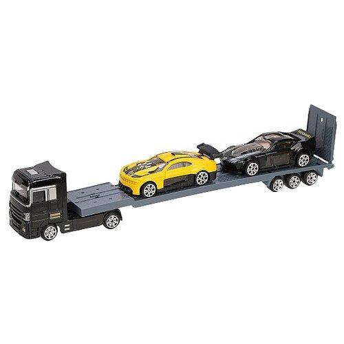 Набор машин Пламенный мотор 870437, черный/серый/желтый трактор пламенный мотор 870493 желтый