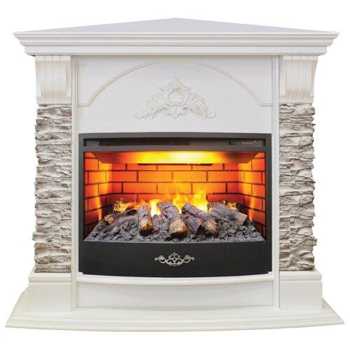 Электрический камин RealFlame Athena Corner GR + Firestar 25,5 3D белый электрический камин realflame kellie 25 5 26 firestar 25 5 3d белый камень