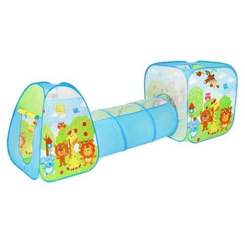 Купить Палатка YUANDONG Комплекс 2 палатки с туннелем Животные 200557032 голубой, Игровые домики и палатки