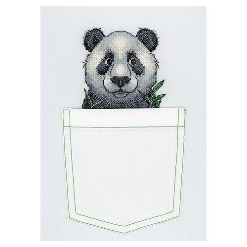 Купить Набор для вышивания крестом на одежде Жар-Птица Веселая панда , 8x9 см, арт. В-241, Жар-птица, Наборы для вышивания