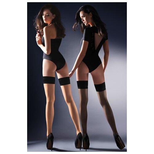 Gabriella Чулки с резинкой на силиконе Lovia, телесный с черным, 1-2 размер