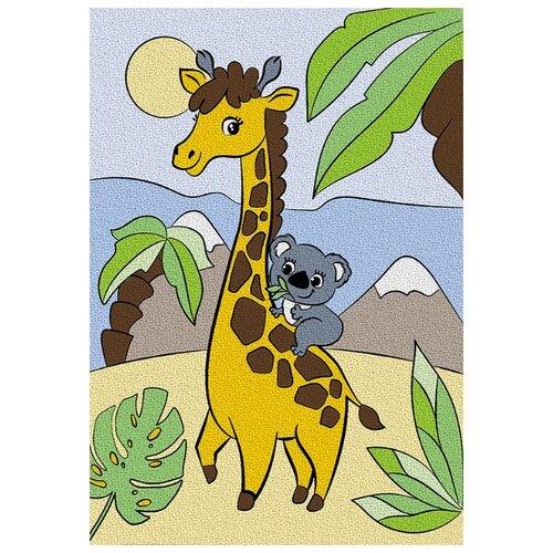 Школа талантов Картина по номерам Жираф с коалой 21х15 см (4583513)