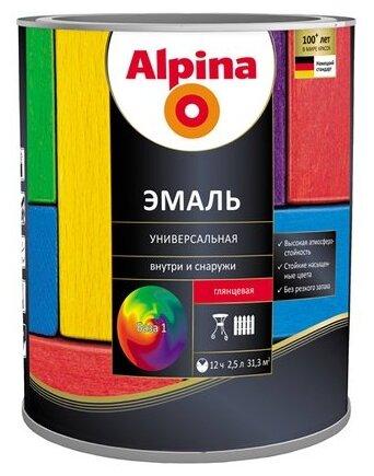 Эмаль универсальная Б1 ALPINA глянцевая 2,5 л