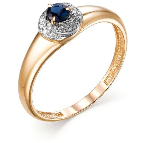 АЛЬКОР Кольцо с сапфиром и бриллиантами из красного золота 13030-102, размер 16.5