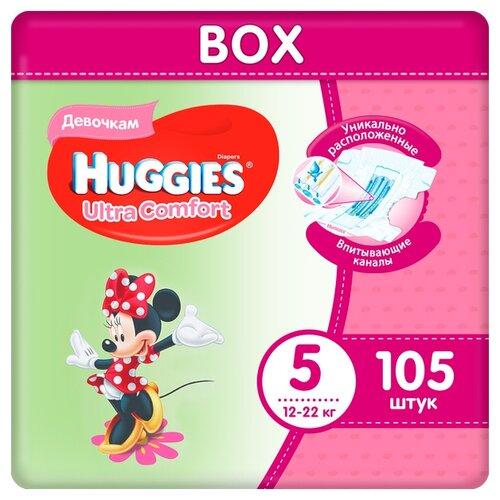 Купить Huggies подгузники Ultra Comfort для девочек 5 (12-22 кг), 105 шт., Подгузники