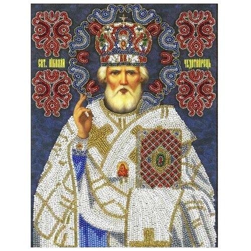 Купить Вышиваем бисером Набор для вышивания бисером Икона Святой Николай Чудотворец 19.5 х 25.5 см (А-31), Наборы для вышивания