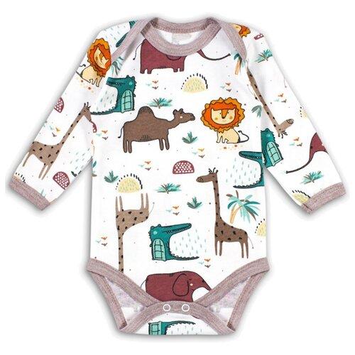 Боди Веселый Малыш размер 74, белый/зеленый/коричневый пижама веселый малыш размер 74 зеленый