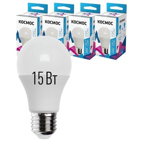 Лампочки светодиодные Космос А60 15Вт Е27 4шт (аналог 75Вт) Нейтральный белый свет