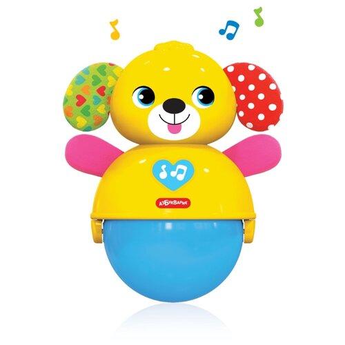 Купить Неваляшка Азбукварик Люленьки Собачка покатушка музыкальная 14.5 см желтый/синий/розовый, Неваляшки