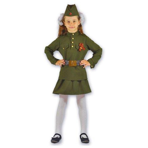 Купить Костюм Карнавалия.рф Военный для девочки (D-0060), хаки, размер 34/128-136, Карнавальные костюмы
