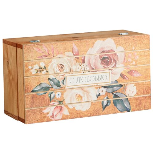 Фото - Коробка подарочная Дарите счастье С любовью 35 × 20 × 15 см бежевый подарочная коробка дарите счастье 3122698 складная коробка с днем рождения