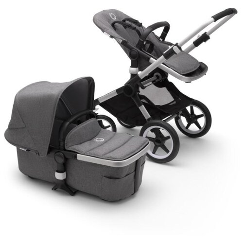 Купить Универсальная коляска Bugaboo Fox 2 complete (2 в 1) Alu/Grey melange/Grey melange, цвет шасси: серебристый, Коляски