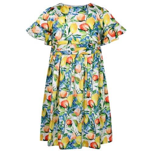 Платье Abel & Lula размер 104, желтый/зеленый/синий платье smena размер 104 56 синий желтый