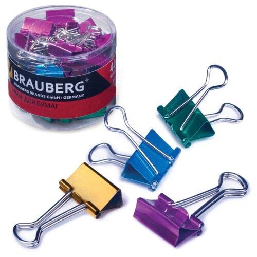Купить BRAUBERG Зажимы для бумаг 223504 19 мм (40 шт.) металлик, Скрепки, кнопки