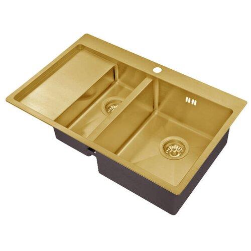 Фото - Интегрированная кухонная мойка 78 см ZorG SZR 5178-2-R Bronze bronze врезная кухонная мойка 78 см zorg szr 78 2 51 r bronze бронза