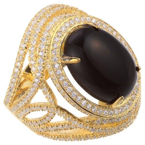 ELEMENT47 Широкое ювелирное кольцо из серебра 925 пробы с кубическим цирконием WJR-0042-2_KO_001_YG, размер 17.5