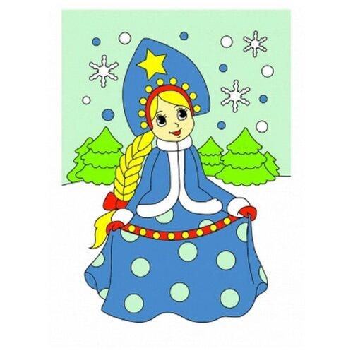 Холст мини 10х15 см по номерам. Снежная принцесса.