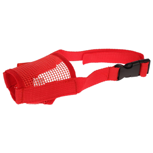 Намордник для собак Пижон сетчатый с двойной фиксацией M (3652884/3652887/3652890), обхват морды 28 см красный