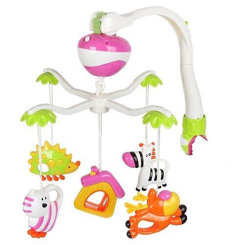 Купить Электронный мобиль Zhorya Улыбка детства 71033 белый/оранжевый/зеленый/розовый, Мобили