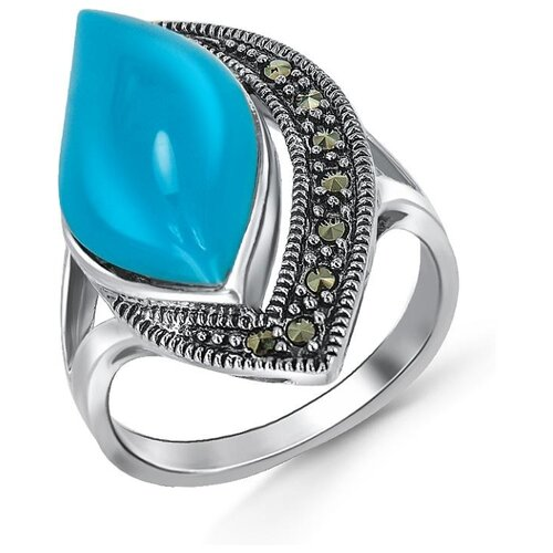 Silver WINGS Кольцо с марказитами и бирюзой из серебра 210017-39, размер 17 silver wings кольцо с марказитами и бирюзой из серебра 210011 39 203 размер 17