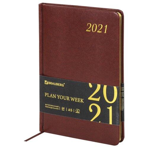 Еженедельник BRAUBERG Iguana датированный на 2021 год, А5, 64 листов, коричневый еженедельник brauberg instinct датированный на 2021 год искусственная кожа а5 64 листов красный