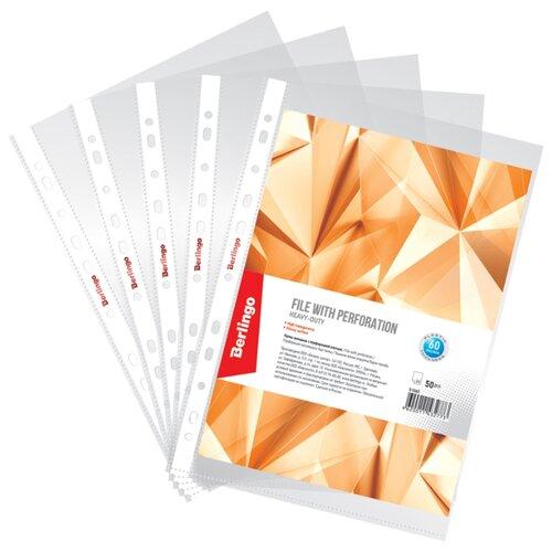 Купить Папка-вкладыш с перфорацией Berlingo, А4, 60мкм, глянцевая, упаковка 50 шт., Файлы и папки