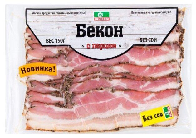 Велком Бекон С перцем сырокопченый из свинины нарезка 150 г