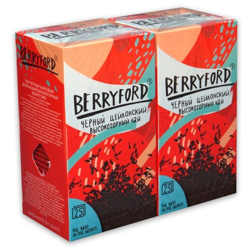 Чай черный BERRYFORD цейлонский высокогорный в пакетиках , 25 шт. (2 уп.)