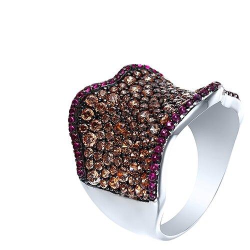 ELEMENT47 Широкое ювелирное кольцо из серебра 925 пробы с кубическим цирконием SR00762CZCSW-3_KO_001_WG, размер 17.25