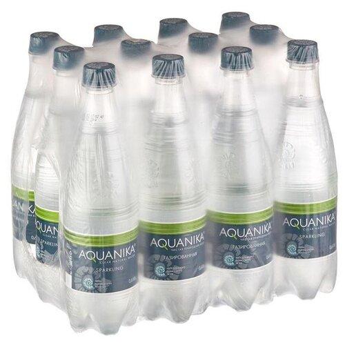 Фото - Вода минеральная Акваника газированная, ПЭТ, 12 шт. по 0.618 л морс акваника из клюквы малины и земляники 6 шт по 1 л