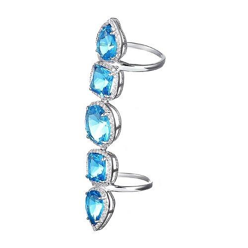 ELEMENT47 Кольцо фаланговое из серебра 925 пробы с кубическим цирконием R5126_001_WG, размер 14