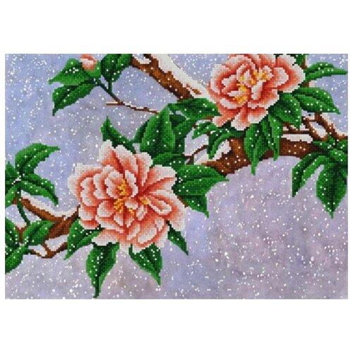 Купить Цветы под снегом (рис. на сатене 29х39) 29х39 Конек 9929, Конёк, Канва