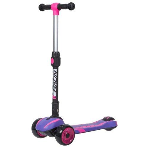 Самокат-кикборд Novatrack RainBow, подростковый, двухцветная платформа, свет деки и колес, музыка, ватер стикер, дизайн-машинка, фиолетовый