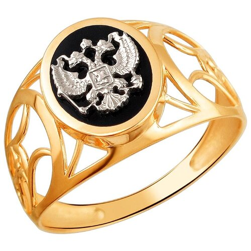 Эстет Кольцо с 1 ониксом из комбинированного золота 01Т4611721-1, размер 18.5 фото