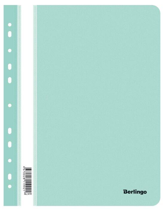 Купить Berlingo Папка-скоросшиватель перфорированная с прозрачным верхом А4, пластик мятный по низкой цене с доставкой из Яндекс.Маркета