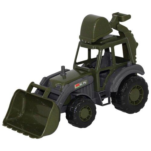 Купить Трактор Полесье Военный Мастер (49285/48714) 27 см зеленый/черный/серый, Машинки и техника
