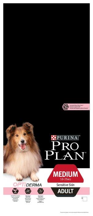 Корм для собак Purina Pro Plan Optiderma для здоровья кожи и шерсти, лосось с рисом 14 кг (для средних пород)