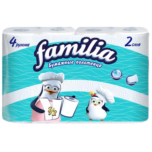 Полотенца бумажные Familia белые двухслойные, 4 рул.Туалетная бумага и полотенца<br>