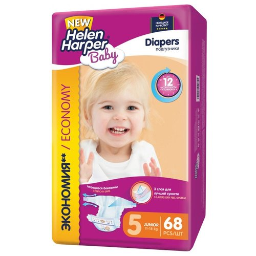 Helen Harper подгузники Baby 5 (11-18 кг) 68 шт. подгузники helen harper baby размер 4 maxi 7 14 кг 62 шт 5411416 029731