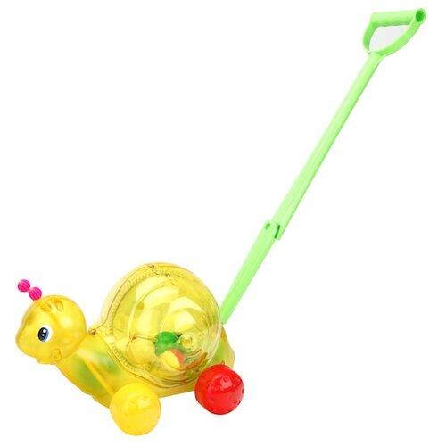 Купить Каталка-игрушка Стеллар Улитка (01359) со звуковыми эффектами желтый/зеленый, Каталки и качалки