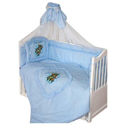 Купить Золотой Гусь комплект Аленка (7 предметов) голубой, Постельное белье и комплекты