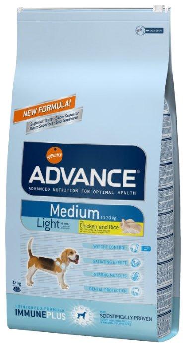 Корм для собак Advance Medium Light Adult курица и рис