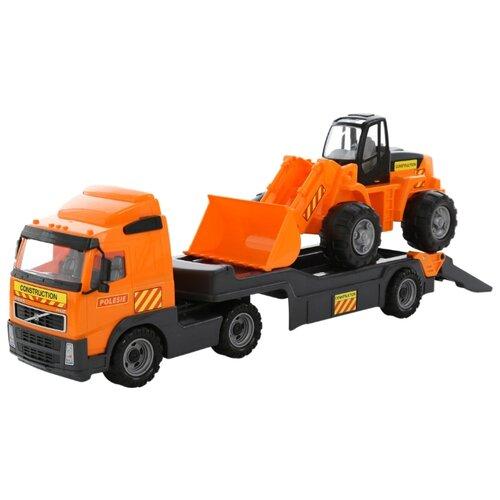 Набор техники Wader Трейлер Volvo и трактор-погрузчик (58423) оранжевый/черный набор машин полесье трейлер и трактор погрузчик mammoet volvo 204 03 57105 черный красный